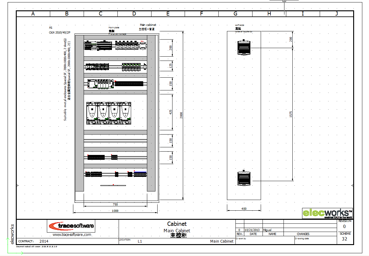 2D cabinet layout in elecworks